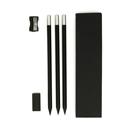 Set da scrittura nero con 3 matite, gomma e temperino